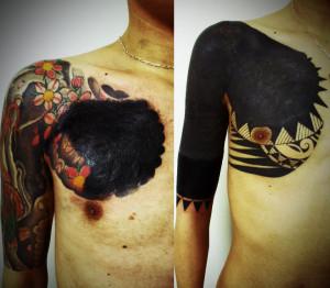 miyawaki tattoo cover up traibal bkack works