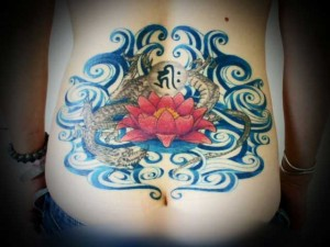 miyawakitattoo-lower-back-blue-wave-dragon-lotus001